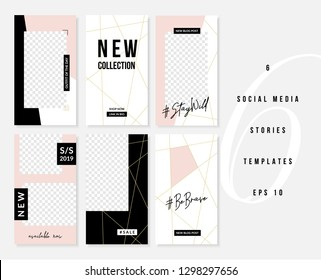 A set of six editable vertical templates for social media stories posts in pastel pink, white, gold and black. Fashion and lifestyle blog templates, web banners, brochures with placeholder for photos.