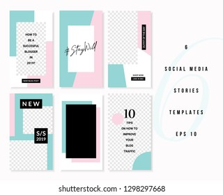 A set of six editable vertical templates for social media stories posts in pastel pink, white, blue and black. Fashion and lifestyle blog templates, web banners, brochures with placeholder for photos.