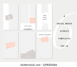 A set of six editable vertical templates for social media stories posts in pastel pink, white, gray and black. Fashion and lifestyle blog templates, web banners, brochures with placeholder for photos.