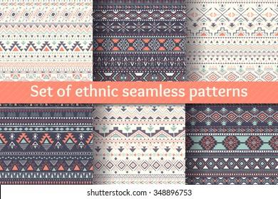 Set of six ethnic seamless patterns. Aztec geometric backgrounds. Stylish navajo design. Modern handmade abstract wallpaper. Vector illustration.