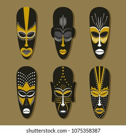 Set of six ethnic tribal masks in the African style.