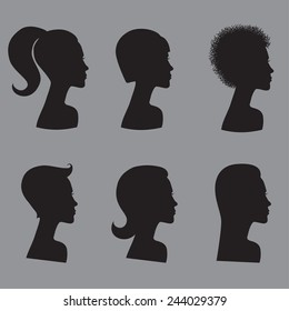 Set of six female silhouettes with different hairstyles on grey background
