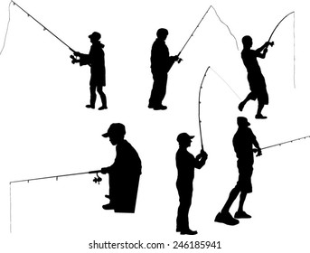 The set of six fisherman silhouette