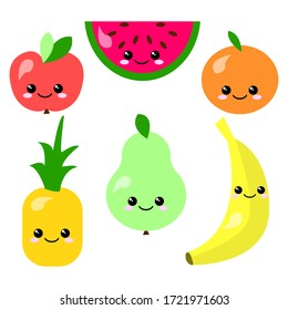 A set of six flat simple fruits with eyes isolated on a white background. Watermelon, orange, Apple, pear, banana, pineapple