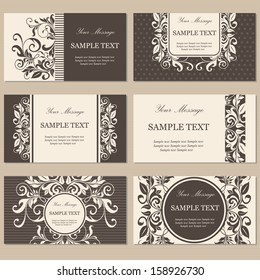 Set of six floral business cards.