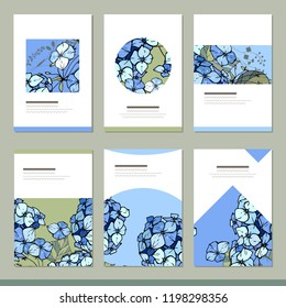 Set with six floral romantic templates. Hydrangea and herbs
