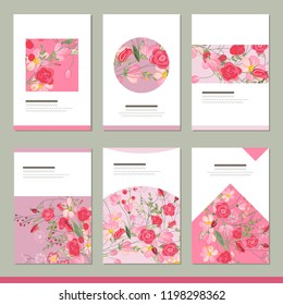 Set with six floral romantic templates. Roses and herbs