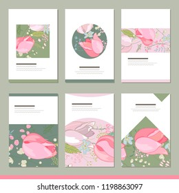 Set with six floral romantic templates. Tulips and herbs