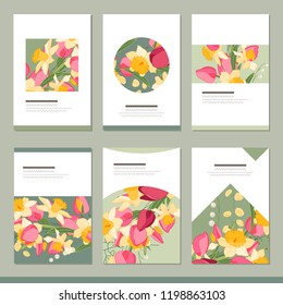 Set with six floral romantic templates. Tulips, daffodils and herbs