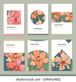 Set with six floral tropic templates. Orchids.