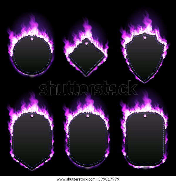 Set of six frames of different shapes with text space surrounded with realistic purple flame isolated on black background. Burning fire light effect. Bonfire elements. Gradient mesh vector