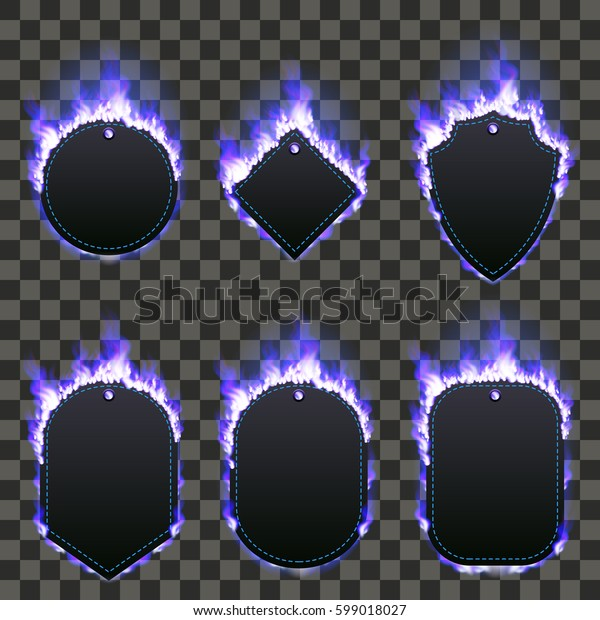 Set of six frames of different shapes with text space surrounded with realistic blue flame isolated on transparent background. Burning fire light effect. Bonfire elements. Gradient mesh vector