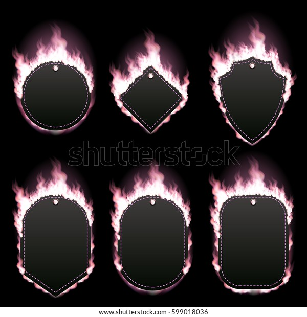 Set of six frames of different shapes with text space surrounded with realistic pink flame isolated on black background. Burning fire light effect. Bonfire elements. Gradient mesh vector illustration