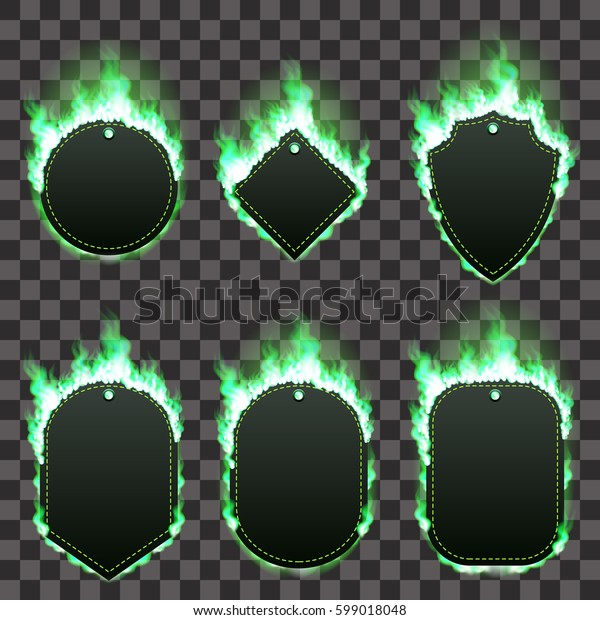 Set of six frames of different shapes with text space surrounded with realistic green flame isolated on transparent background. Burning fire light effect. Bonfire elements. Gradient mesh vector