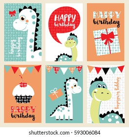 set of six fun Birthday Card with baby dino. Vector illustration