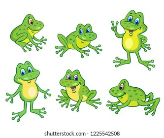 Set of six funny little frogs in cartoon style sitting and jumping on white background.