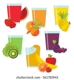 Set of six glasses with fresh juice and fruit in flat style.