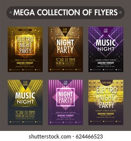 Set of six glossy flyers, templates or invitation cards design for Music Night Party celebration.