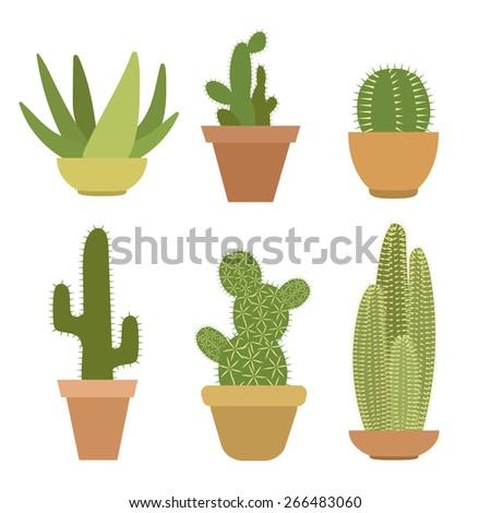 Set Six Green Cactus Vector Illustration Vector de stock (libre de ...