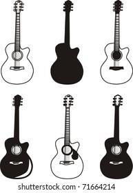 A set of six guitars