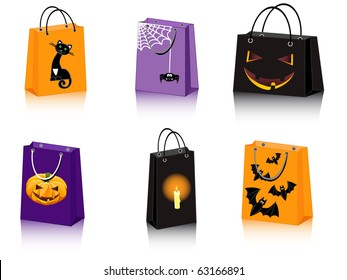 a set of six Halloween shopping bags