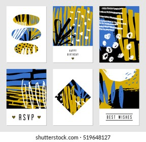 A set of six hand drawn abstract designs in black, white, blue and yellow. Modern and original greeting card, invitation, poster design templates.