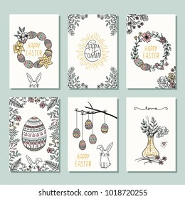 Set of six hand drawn mini cards for Easter, design template with flowers, Easter eggs and Easter bunny