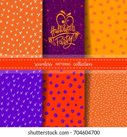 Set of six hand drawn seamless patterns for Autumn/Fall season, Halloween Holidays. Backgrounds with dots, stripes, crosses. Hand lettered logo for Halloween Night Party.