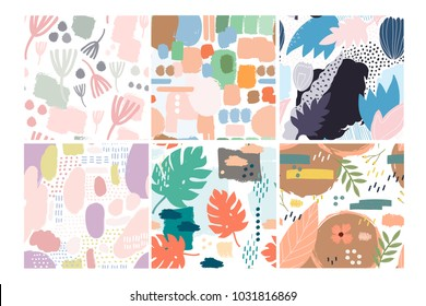 Set of six hand drawn vector seamless patterns. Tropical leaves, abstract shapes, pastel colors. Transparent background