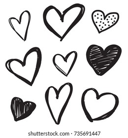 Set of six handdrawn heart. Handdrawn rough marker hearts isolated on white background. Vector illustration for your graphic design.