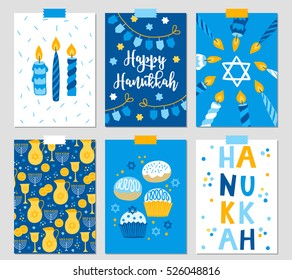 Set of six Hanukkah greeting cards with candles, dreidel, garland, Jewish star, oil, menorah, donut, cupcake, confetti, coins, letters. Perfect for Festival of Lights invitation, Jewish greeting cards