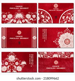 Set of six horizontal business cards. Beautiful flowers and red watercolor background. Hand drawing. Imitation of chinese porcelain painting. Place for your text.