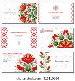 Set of six horizontal business cards. Flowers in style of Petrykivka painting. Background with ornament similar to embroidery. Place for your text.
