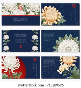 Set of six horizontal business cards. Flowers in style of japanese. Chrysanthemum flowers. Place for your text.