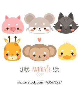 set of six illustration of cute cartoon animals. illustration of cute pig, mouse, wolf, giraffe, monkey and duck on white background. can be used for cards or birthday invitations