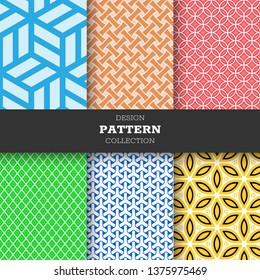 Set of six line collection pattern full color hand drawn ink seamless patterns. Endless vector backgrounds of simple primitive scratchy textures with dots, stripes, waves.