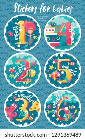 Set of six marine stickers with months for new born baby, 1, 2, 3, 4, 5, 6, fish, wave, mermaid, octopus, Stingray, bird, algae, seabed, starfish, corals, sea, ship, boat, bubble