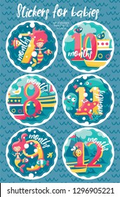 Set of six marine stickers with months for new born baby, 7, 8, 9,10,11,12, fish, wave, mermaid, octopus, stingray, bird, algae, seabed, starfish, corals, sea, ship, boat, bubble