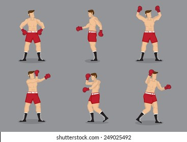 Set of six muscular beefcake wearing boxing gloves in different poses. Vector icons isolated on grey background.