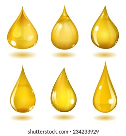 Set of six opaque drops of different forms in saturated yellow colors