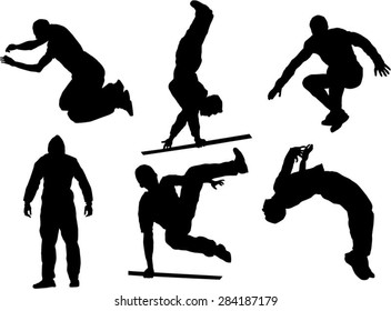 The set of six parkour silhouette