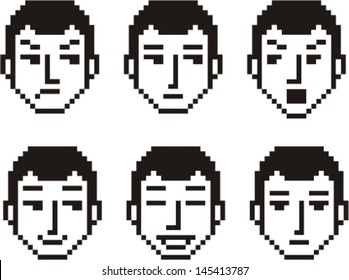 Set of six pixelated faces of a young man in various mood expressions.