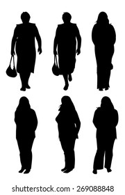 Set of six plump women silhouettes in different poses. Vector illustration