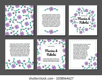 Set of six postcards, wedding invitation, greeting card, white card, greeting card  summer, women's day