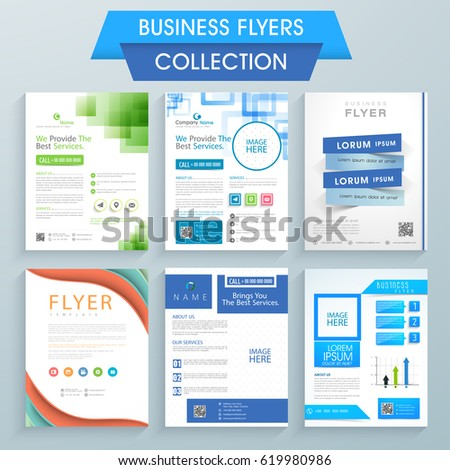 set six professional flyers design your stock vector royalty free
