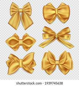 Set of six realistic different gold ribbons tied as decorative bows in assorted styles over a clear background, colored vector illustration
