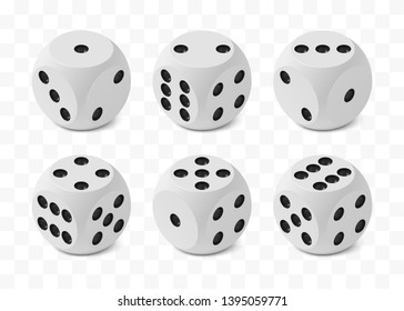 Set of six realistic isometric game dices with rounded edges and angles, correct numbering isolated on transparent white background, all variants numbering, photo realism vector illustration