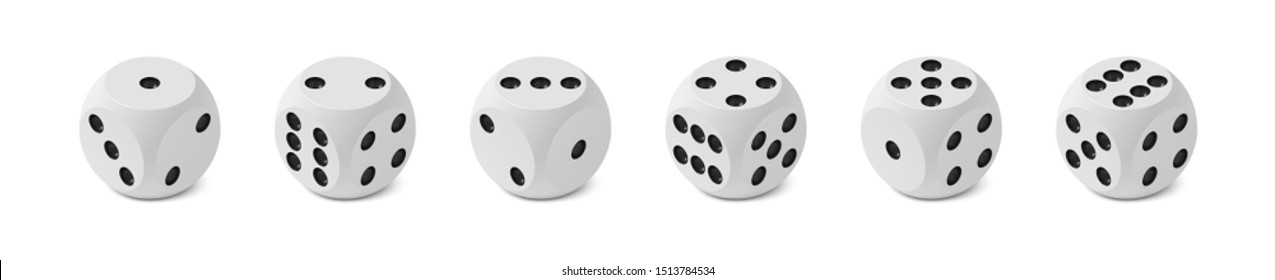 Set of six realistic isometric game dices with rounded edges and angles, correct numbering isolated on white background, all variants numbering, photo realism vector illustration