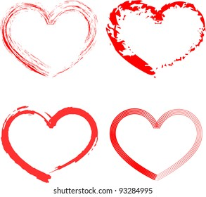 Set of six red hearts different forms