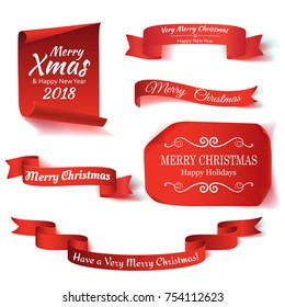 Set of six red, Merry Christmas, realistic, paper banners. Vector illustration.